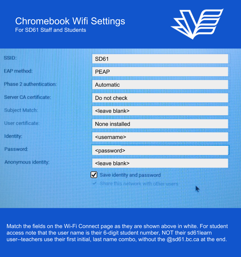 Connecting Chromebooks To Sd61 Wifi Tech For Learning